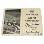 Lot 35 - 1945 PGA Championship Official Scorecard Signed by Byron Nelson-8th of 11 Straight Wins