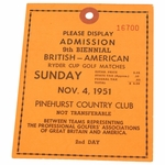 Lot 38 - 1951 Ryder Cup Sunday Ticket - Pinehurst Country Club