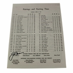 Lot 39 - Jack Nicklaus Signed 1972 Masters Sunday Pairing Sheet - 4th Victory JSA COA
