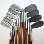 Lot 4 - Vintage Spalding Bobby Jones Hickory-Shafted Golf Clubs - 1-9 Iron