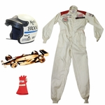 Lot 40 - 1989 Michigan 500 Pro-Am Winners Trophy, Jacket, Helmet, and Glove won by Mark Brooks