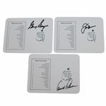 Lot 40 - Palmer, Nicklaus, and Player Signed Augusta National Scorecards JSA ALOA