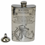 Lot 40 - Augusta National Golf Club Pewter Golf Flask - with Funnel - Excellent Condition