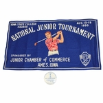 Lot 41 - 1950 National Junior Amateur Tournament Felt Poster/Pennant with Official Pinback