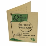 Lot 44 - 1962 US Open at Oakmont Country Club Telephone Directory - Jack's First Major Win