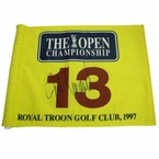 Lot 44 - Justin Leonard Signed 1997 Royal Troon Flag - 13th Hole Large Auto