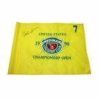 Lot 48 - Hale Irwin Signed 1990 US Open at Medinah Embroidered Course Flag JSA COA