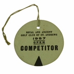 LOT #52: 1957 Open Championship Competitor Badge - St. Andrews - #195 Bobby Locke Winner