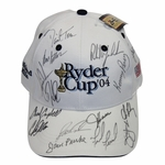 Lot 53 - 2004 Ryder Cup Hat Signed by Team & Coaches - Steve Jones Collection - With Tag
