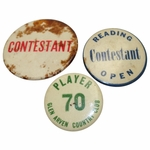 Lot 55 - Lot of Three Contestant Badges - Reading Open, Glen Arven, and Blank Contestant