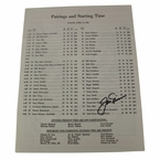 LOT #59: Jack Nicklaus Signed 1986 Masters Sunday Pairing Sheet - 6th Victory JSA COA