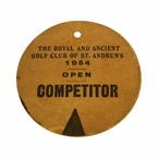 LOT #62: 1954 Open Championship Competitor Badge - Royal Birkdale - #55 Peter Thomson Winner