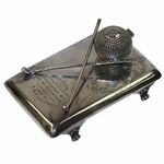 Lot 69 - Sterling Ink Well with Crossed Clubs - Forres GC - Sept. 2nd, 1914 Won by J. M. Cant Esq.