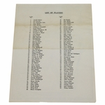 Lot 69 - 1965 Masters Par 3 Tournament Player List and Map - April 7th Wednesday