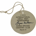 Lot 7 - Byron Nelson Signed 1945 Inter.l 4-Ball Tourn. Ticket-1st of Record 11 Straight Wins! Stunning Condition