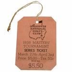 Lot 7 - 1938 Masters Tournament Series Ticket - From Members Family See Also Lots 5,6 & 8