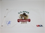 Lot 72 - Dustin Johnson Signed 2016 US Open at Oakmont White Embroidered Flag JSA #P67604
