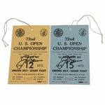 Lot 73 - Two Jack Nicklaus Signed 1972 US Open Tickets - Pebble Beach