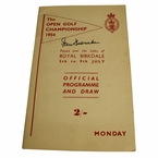 LOT #75: 1954 Open Championship Monday Program Signed by Peter Thomson - Royal Birkdale JSA COA