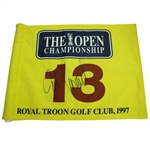 Lot 75 - Winner Justin Leonard Signed 1997 Royal Troon Course Flown Flag - 13th Hole- Large Auto JSA ALOA