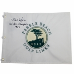 Lot 78 - Tom Watson Signed Pebble Beach Embroidered Flag - 1982 Champ Inscription