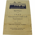 Lot 8 - Byron Nelson Signed 1945 Inter. 4-Ball Tourn. Program-1st of Record 11 Straight Wins