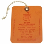 Lot 8 - 1960 Masters Sunday Ticket #592 - Arnold Palmer Winner