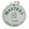 Lot 8 - 1961 Masters Badge #7336-First Plastic Badge- Gary Player Wins