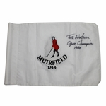 Lot 81 - Tom Watson Signed Muirfield (Site 1980 Brit. Open Win) Embroidered Flag W/Notation- JSA COA