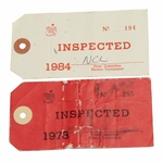 Lot 82 - 1978 & 1984 Masters Press Committee Inspection Tags