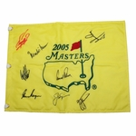 Lot 83 - 2005 Masters Embroidered Flag Signed by 8 Champs including Big 3