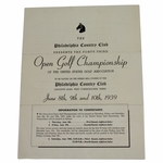 Lot 86 - 1939 US Open Championship at Philadelphia CC Contestant Info Booklet-Byron Nelson Win