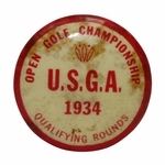 Lot 9 - 1934 US Open Qualifying Contestants Badge