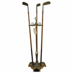 Lot 93 - Parlor Putter with 3 Brass Head Hickory Putters - Reproduction