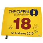 Lot 93 - Louis Oosthuizen & Caddy Signed 2010 Open Championship at St. Andrews Flag JSA ALOA