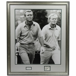 Lot 93 - Jack Nicklaus & Arnold Palmer Signed Cuts Framed with B&W Large Photo