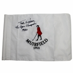 Lot 97 - Tom Watson Signed Muirfield Embroidered Flag - 1980 Champ Inscription