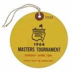 Lot 98 - 1964 Masters Tournament Sunday Ticket #3932 - Palmer Final Masters Win - Excellent Condition