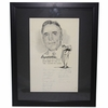 Lot 78 - 15 Masters Champs Autographs on Original Dugan Cartoon for 1970 Frank Stranahan Day