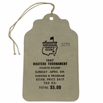 Lot 59 - TOP CONDITION! 1947 Masters Sunday Ticket #3278 Signed by Gene Kunes On Back - Jimmy Demaret Winner