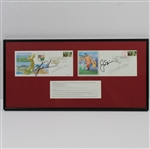 Lot 79 - Tiger Woods & Jack Nicklaus Signed 2000 US Open Cachets - Framed JSA ALOA