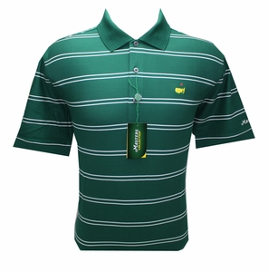 Masters Pique Golf Shirt Green w /White Stripes