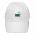 Masters Ladies White Caddy Hat with Green Rhinestones