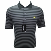Masters Tech Golf Shirt - Black w/White Stripes