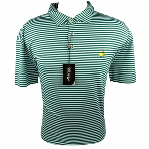 Masters Performance Polo Golf Shirt - Green and White Stripes