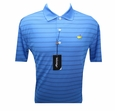Masters Tech Golf Shirt - Blue w/Black Stripes - Medium through XXL