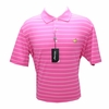 Masters Tech Golf Shirt - Pink With White Stripes