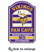 Minnesota Vikings Wooden Sign 11 x 17