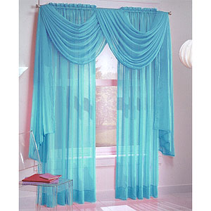 Turquoise Sheer Window Curtains
