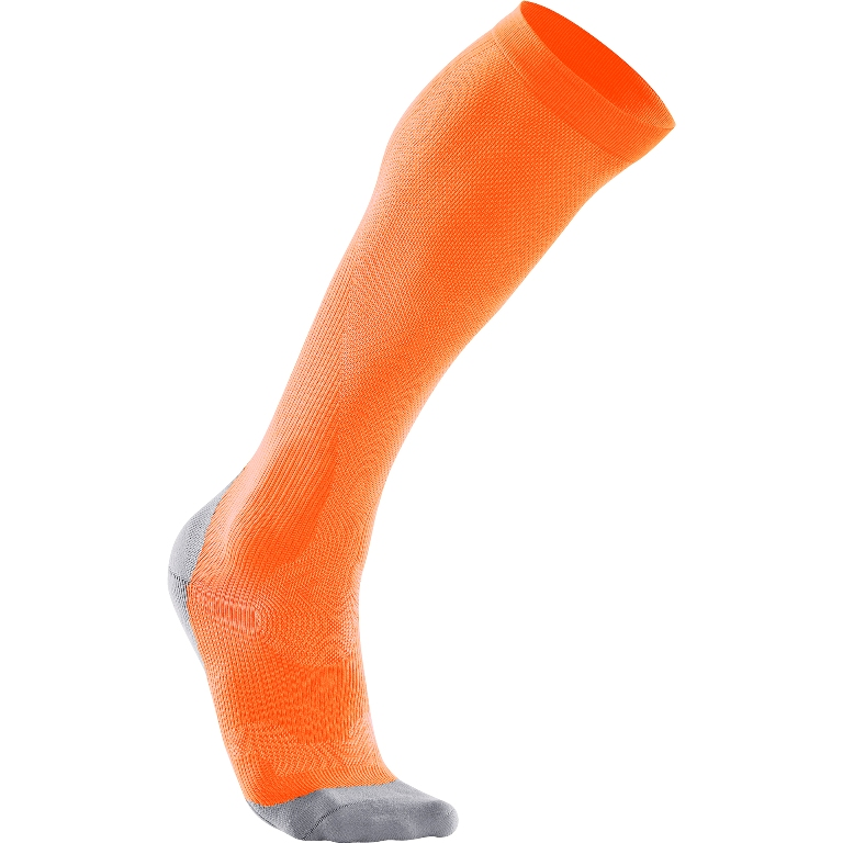 2XU Performance Run Compression Sock Women's Size M FluroOrange LimestoneGray U.S.A. & Canada